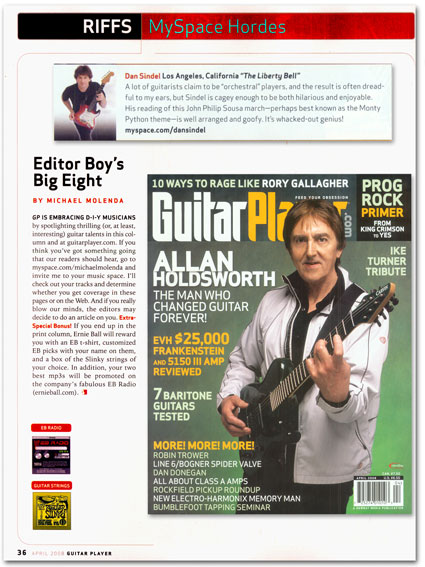 Dan Sindel featured in April 2008 Guitar Player